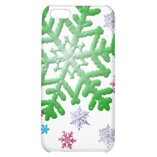 Burgundy Blue Green & Silver Snowflakes Case For iPhone 5C