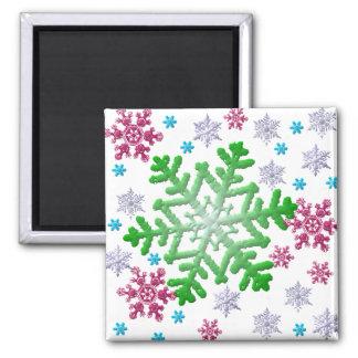 Burgundy Blue Green & Silver Snowflakes Fridge Magnets