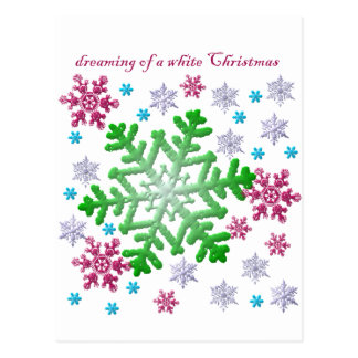 Burgundy Blue Green & Silver Snowflakes Postcard