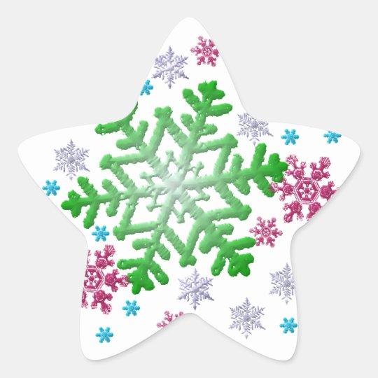 Burgundy Blue Green & Silver Snowflakes Star Sticker