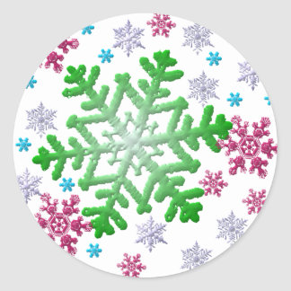 Burgundy Blue Green & Silver Snowflakes Sticker