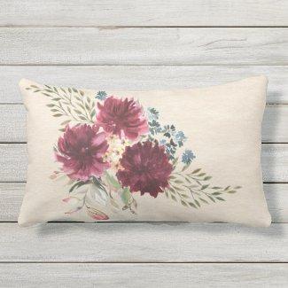 Burgundy, Blue, Peach Floral Outdoor Pillow