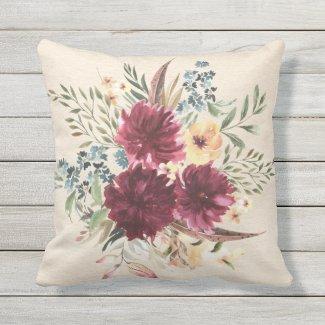 Burgundy, Blue, Peach Floral Outdoor Pillow 16x16