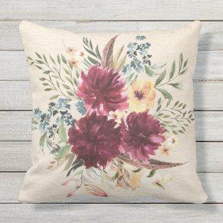 Burgundy, Blue, Peach Floral Outdoor Pillow 20x20