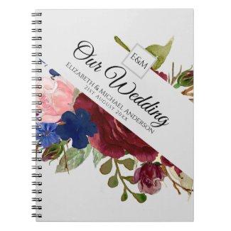 Burgundy Blue Pink Flowers Newlyweds Wedding Gifts Notebook