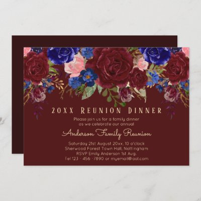 Burgundy Blue Pink Roses Floral Family Reunion Invitation