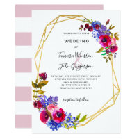 Burgundy Blue Rose Gold Geometric Wedding Invitation