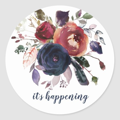 Burgundy Blue Rose Gold Wedding Save The Date Classic Round Sticker