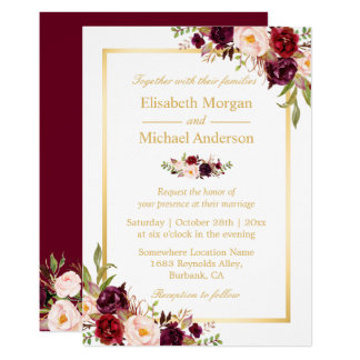 Burgundy Blush Bloom Floral Gold Frame Wedding Invitation