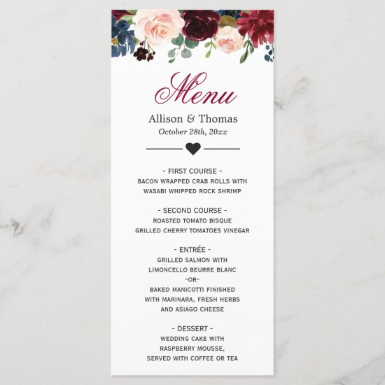 Burgundy Blush Blue Bloom Floral Wedding Menu