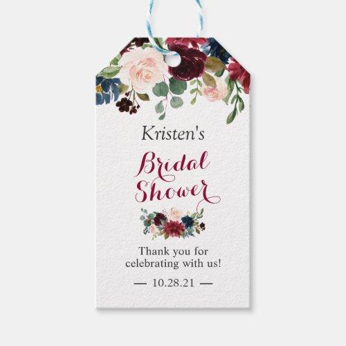 Burgundy Blush Blue Floral Bridal Shower Favor Gift Tags