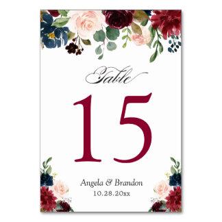 Burgundy Blush Blue Floral Wedding Table Number