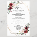 """Burgundy Blush Botanical Geometric Wedding Menu<br><div class=""""desc"""">Elegant and modern romantic geometric watercolor floral wedding menu card features a bouquet of burgundy / marsala , blush pink, Purple, peach watercolor roses with matching foliage. Perfect for a fall / midsummer wedding. Please find more matching designs and variations from my """"blissweddingpaperie"""" store. And feel free to contact me...</div>"""