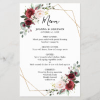 Burgundy Blush Botanical Geometric Wedding Menu