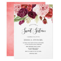 Burgundy Blush Coral Peach Sweet 16 invitation