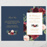 """Burgundy Blush Floral Blue Folded Wedding Program<br><div class=""""desc"""">Create the perfect wedding program with this &quot;Burgundy Floral Faux Gold Foil Navy Blue&quot; template. This high-quality design is easy to customize to be uniquely yours! (1) Note that the cards arrive flat, and you&#39;ll need to Fold Down the Middle to convert them to folded papers. (2) For further customization,...</div>"""