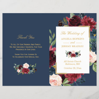 Burgundy Blush Floral Blue Folded Wedding Program