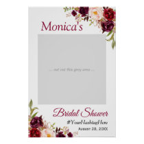 Burgundy Blush Floral Bridal Shower Photo Prop Poster