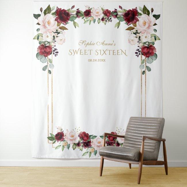 Burgundy Blush Floral Bridal Shower Photo Prop Tapestry