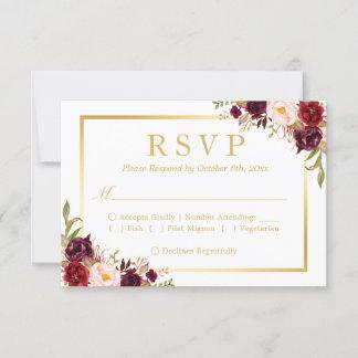 Burgundy Blush Floral Gold Frame RSVP