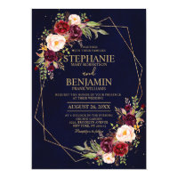 Burgundy Blush Floral Modern Geometric Wedding Invitation