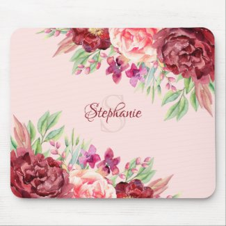Burgundy Blush Floral Monogram Name Mouse Pad