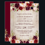 "Burgundy Blush Floral Rustic Barn Wood Wedding Invitation<br><div class=""desc"">Burgundy Blush Floral Rustic Barn Wood Wedding Invitation. (1) For further customization, please click the ""customize further"" link and use our design tool to modify this template. (2) If you prefer Thicker papers / Matte Finish, you may consider to choose the Matte Paper Type. (3) If you need help or...</div>"