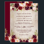 "Burgundy Blush Floral Rustic Barn Wood Wedding Invitation<br><div class=""desc"">*** See Matching Items: https://zazzle.com/collections/119317604585818056 *** 