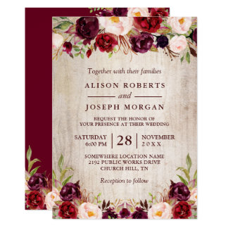 Burgundy Blush Floral Rustic Barn Wood Wedding Invitation