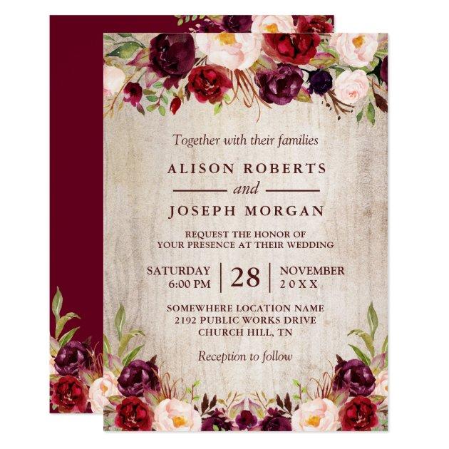 Rustic Burgundy Purple Floral Script Wedding Invitations: Rustic Country Wedding Invitations