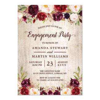 Burgundy Blush Floral Rustic Wood Engagement Party Invitation