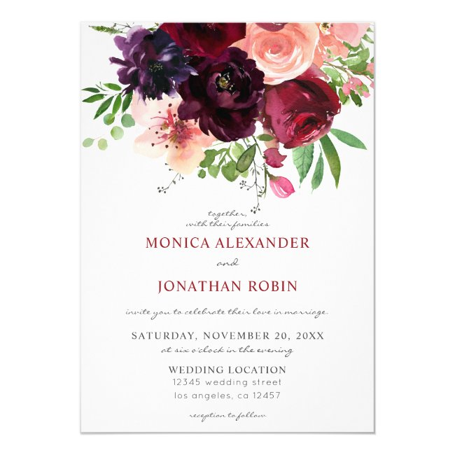 Burgundy & Blush Floral Wedding 2 Invitation