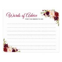 Burgundy Blush Floral Wedding Words of Advice Card