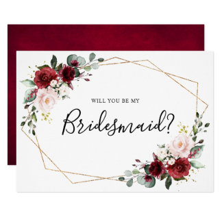 Burgundy Blush Floral Will You Be My Bridesmaid Invitation