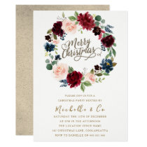 Burgundy & Blush Floral Wreath Christmas Party Invitation