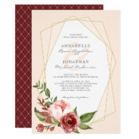 Burgundy Blush Flowers Botanical Geometric Wedding Invitation