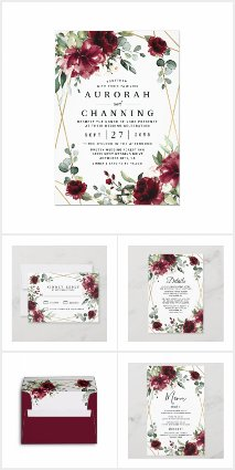 Burgundy Blush Gold Wedding Invitations Set