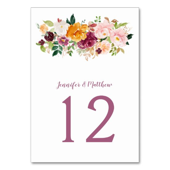 Burgundy Blush Mauve Saffron Floral Bouquet Table Number