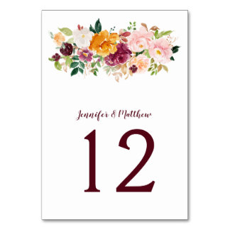 Burgundy Blush Mauve Saffron Floral Bouquet Table Number
