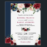 """Burgundy Blush Navy Blue Floral Botanical Wedding Invitation<br><div class=""""desc"""">Burgundy Navy Blue Blush Floral Botanical Wedding Invitation. (1) For further customization, please click the &quot;customize further&quot; link and use our design tool to modify this template. (2) If you prefer Thicker papers / Matte Finish, you may consider to choose the Matte Paper Type. (3) If you need help or...</div>"""