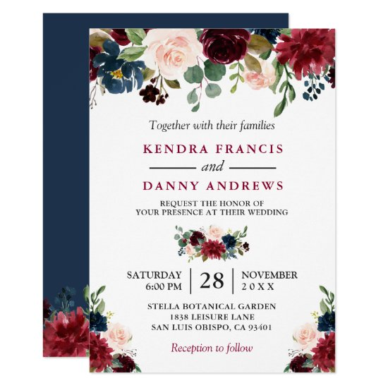 Burgundy Blush Navy Blue Floral Botanical Wedding Invitation