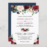 """Burgundy Blush Navy Blue Floral Botanical Wedding Invitation<br><div class=""""desc"""">*** See Matching Items: https://zazzle.com/collections/119409135726966222 *** 