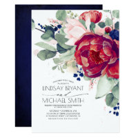 Burgundy Blush Navy Blue Floral Elegant Wedding Invitation