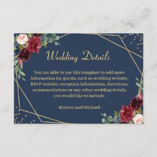 Burgundy Blush Navy Blue Floral Wedding Details Enclosure Card