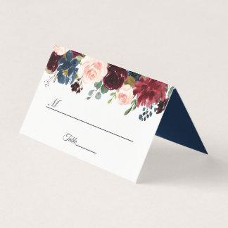 Burgundy Blush Navy Blue Floral Wedding Table Place Card