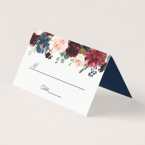 Burgundy Blush Navy Blue Floral Wedding Table Place Card