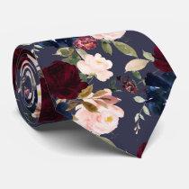 Burgundy Blush Navy Watercolor Flowers DIY bckgrnd Neck Tie