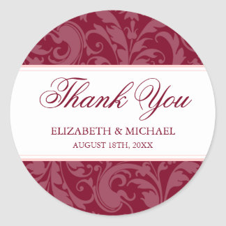 Burgundy Blush Pink Damask Swirl Wedding Thank You Classic Round Sticker
