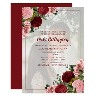 Burgundy Blush Pink Floral Bridal Shower Photo Invitation