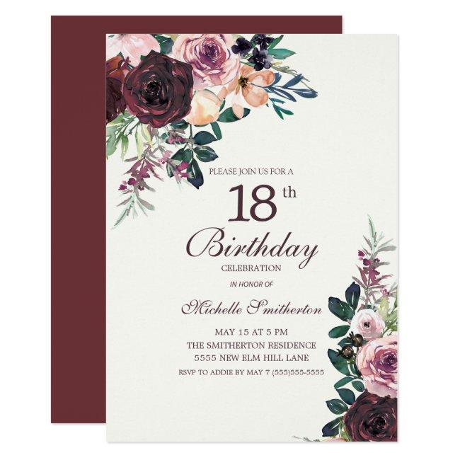 Burgundy Blush Pink Floral Leaves 18th Birthday Invitation